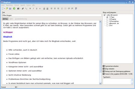 screenshot blogdesk